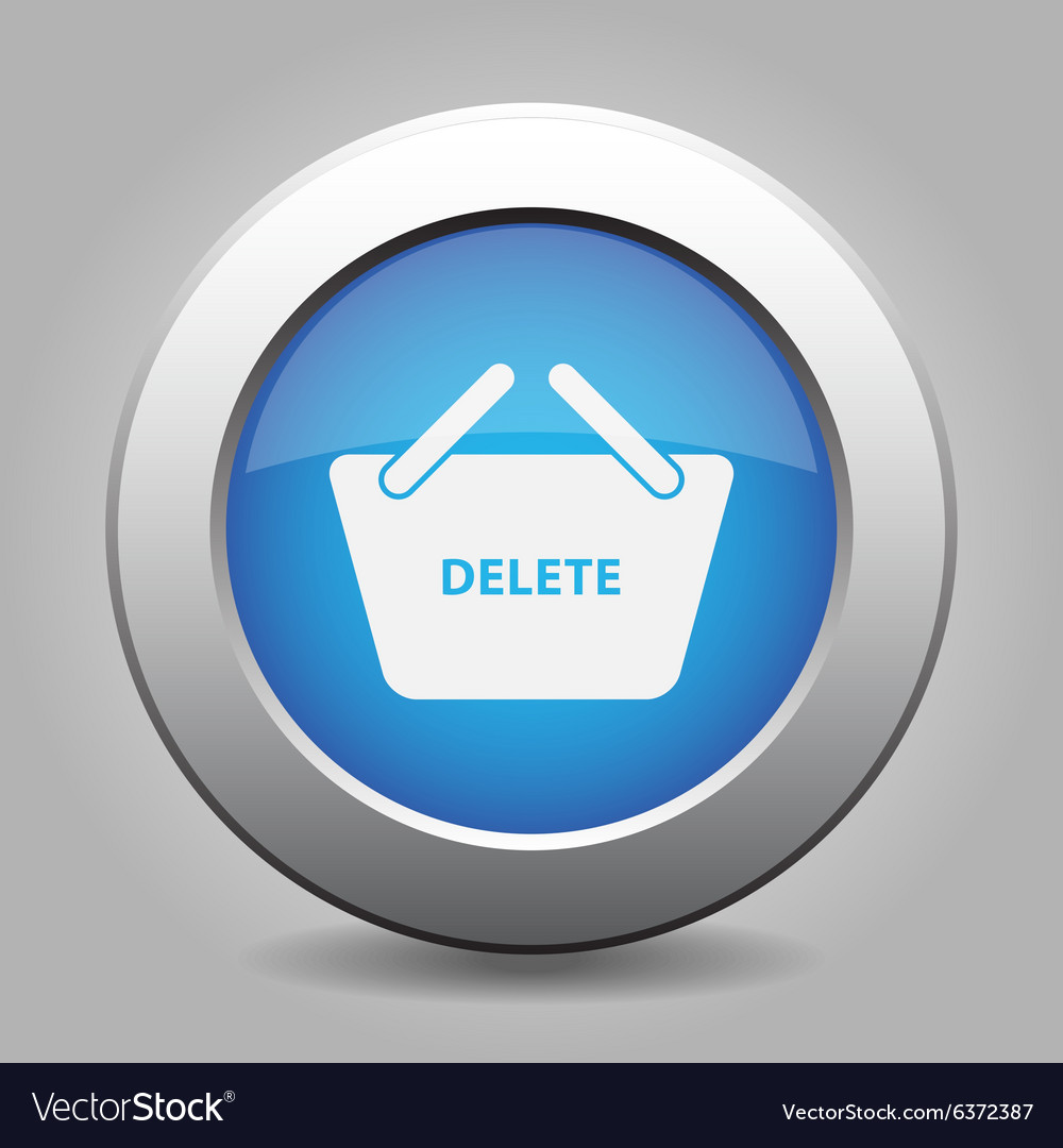 Blue button  shopping basket delete vector