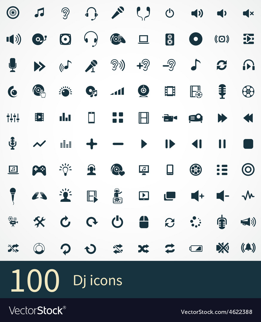 100 dj icons set vector
