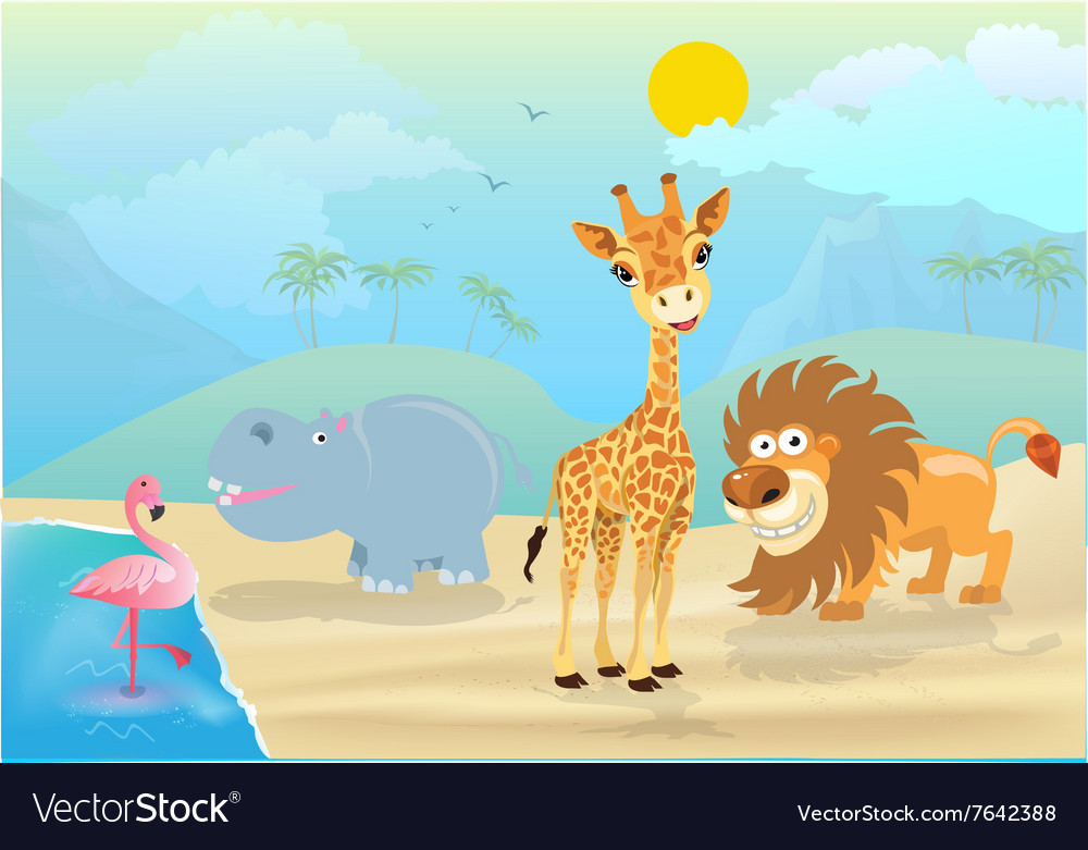 Cute jungle animals and vector
