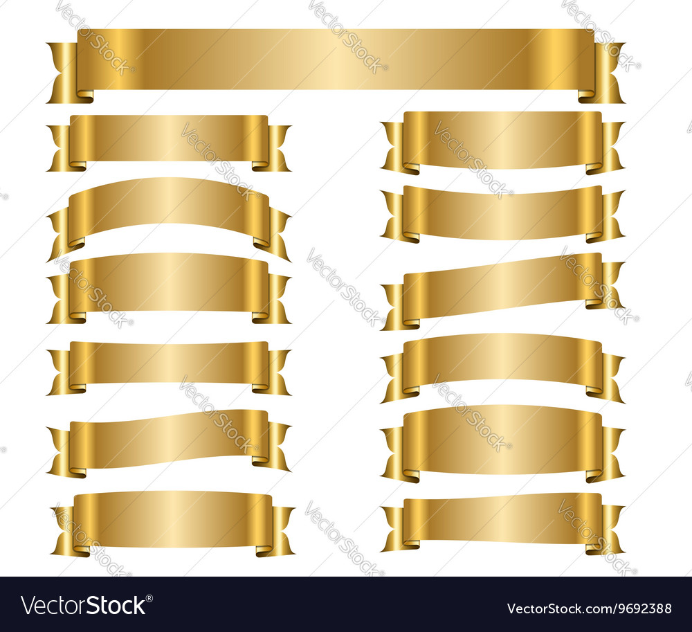 Ribbon gold banners set vector