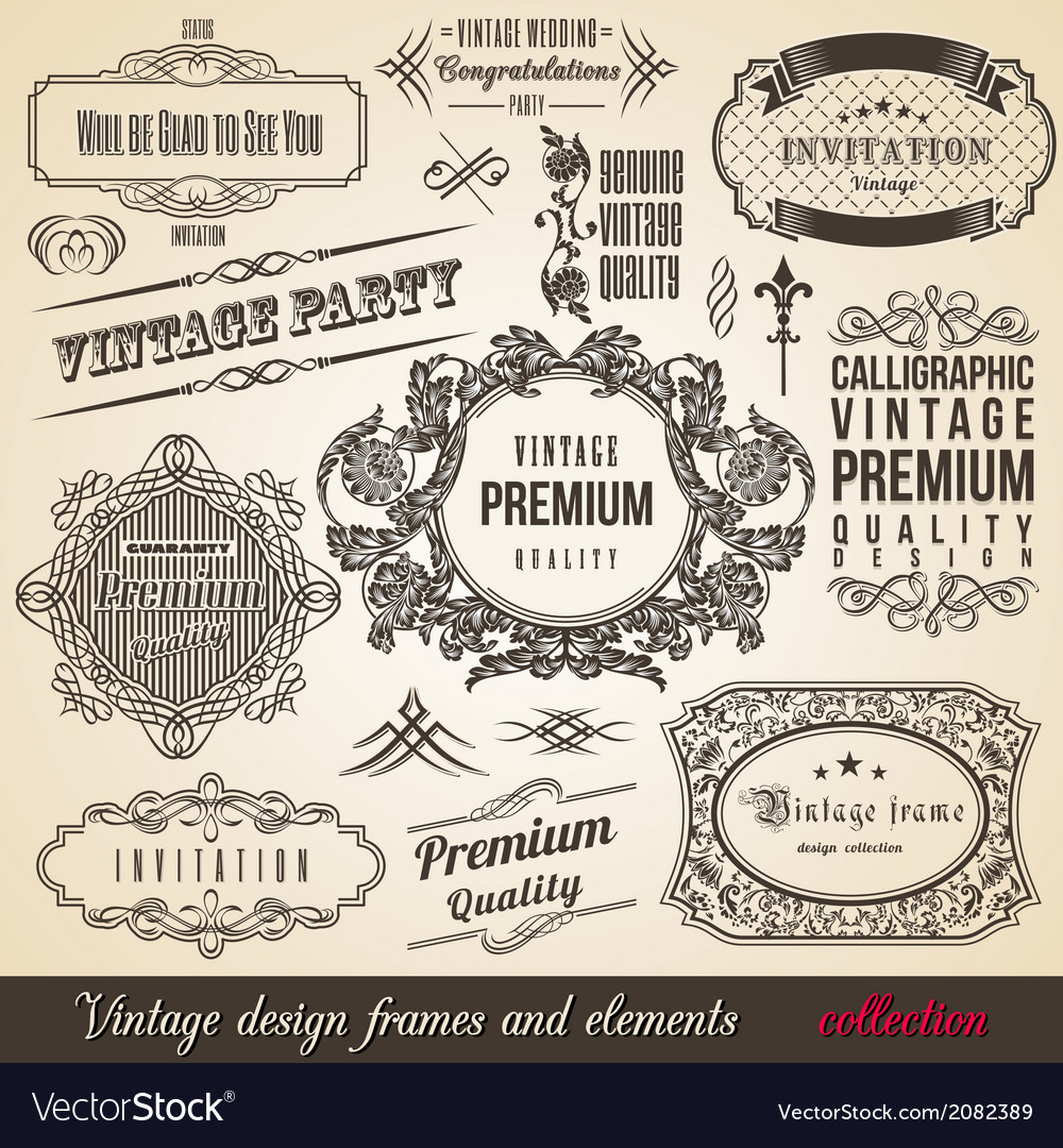 Calligraphic element border corner frame and invit vector