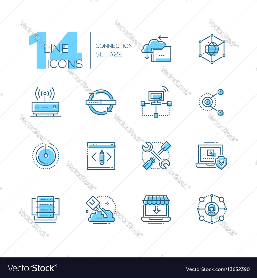 Connection  coloured modern single line icons set vector