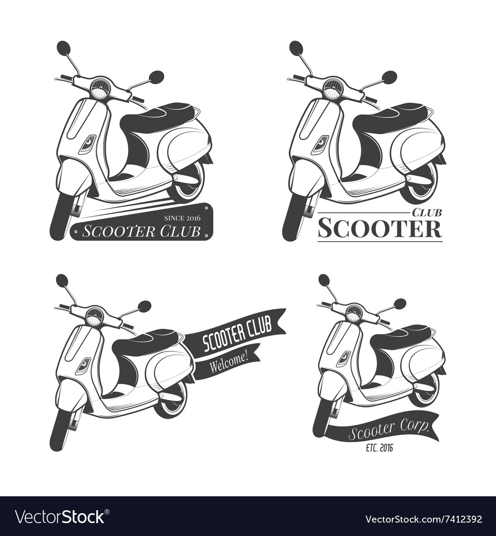 Set of scooter logos vector