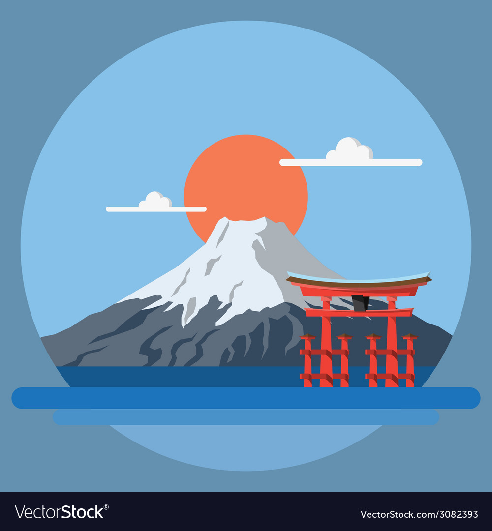 Flat design landscape of japan vector