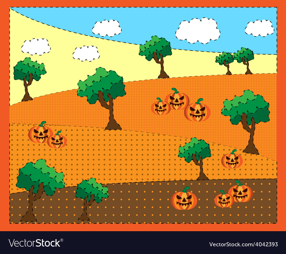 Picture of trees a pumkins vector