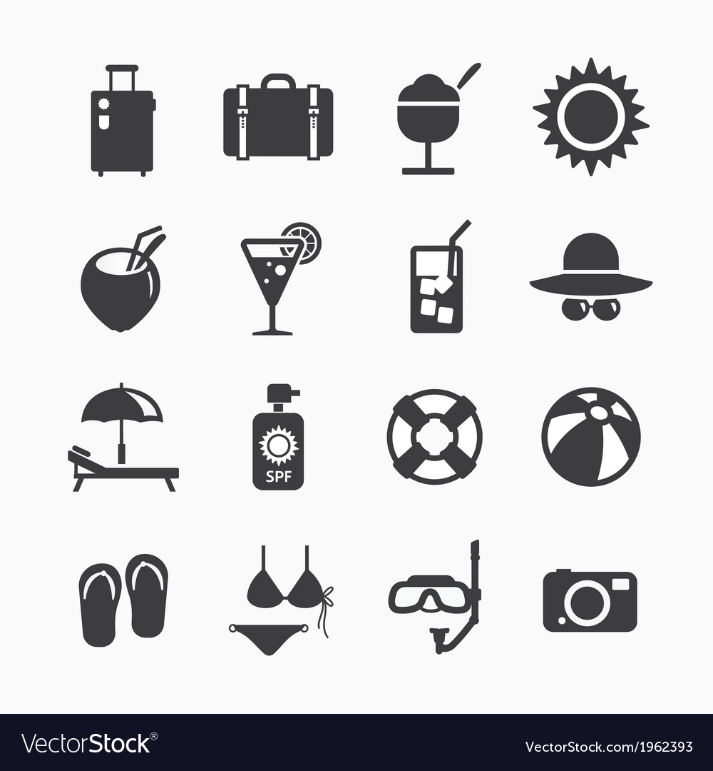 Summer icons set design icons for web vector