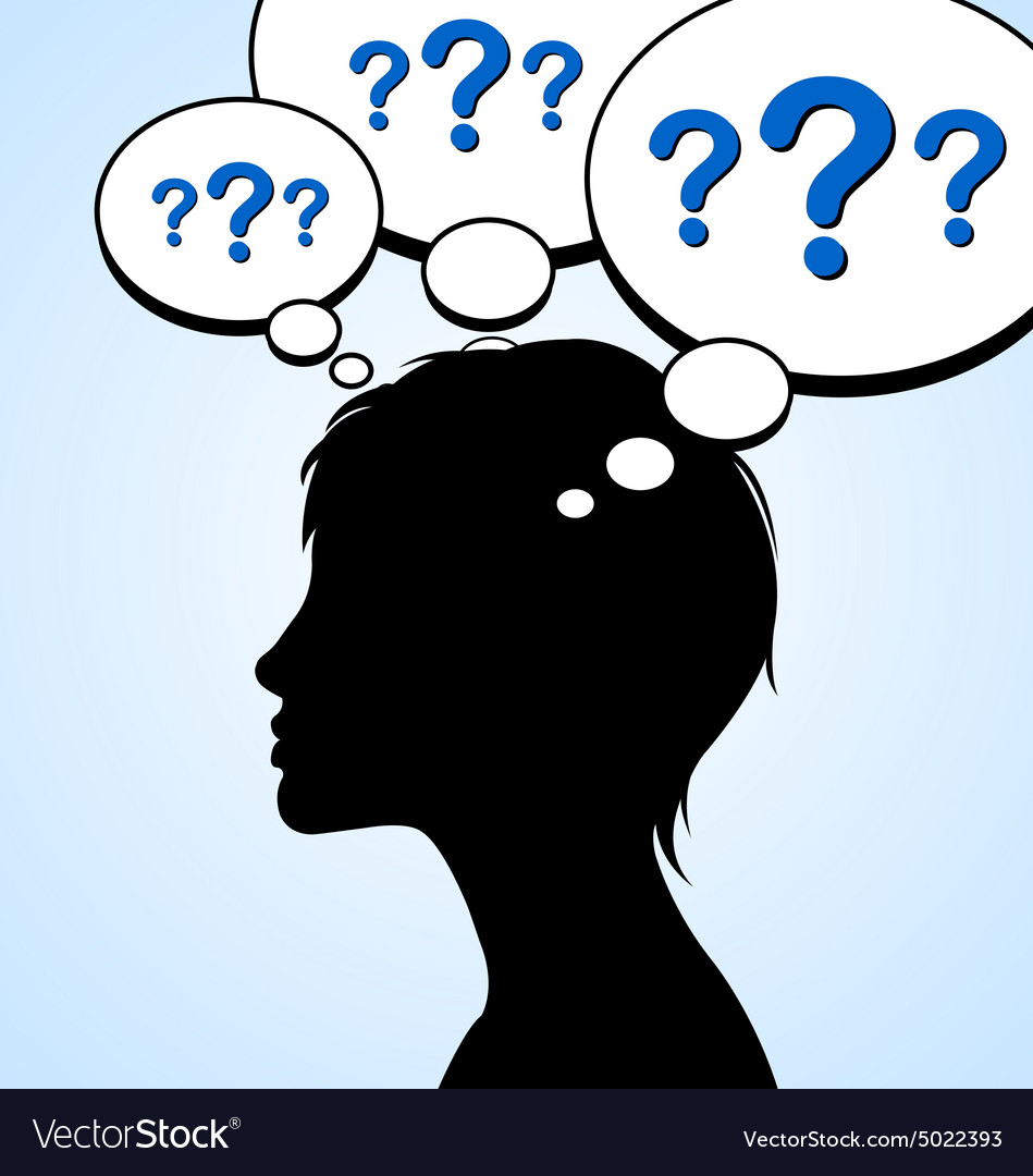 Woman silhouette with question marks vector