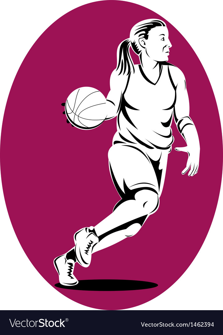 Basketball player dribbling ball vector