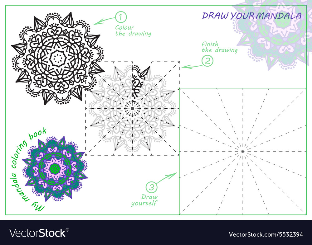 Unique coloring book rectangular a4 page hand vector