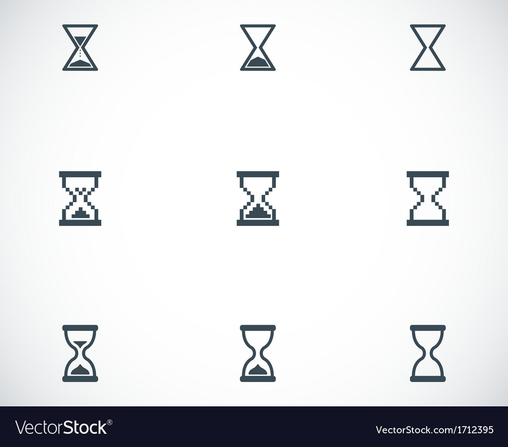 Black hourglass icons set vector