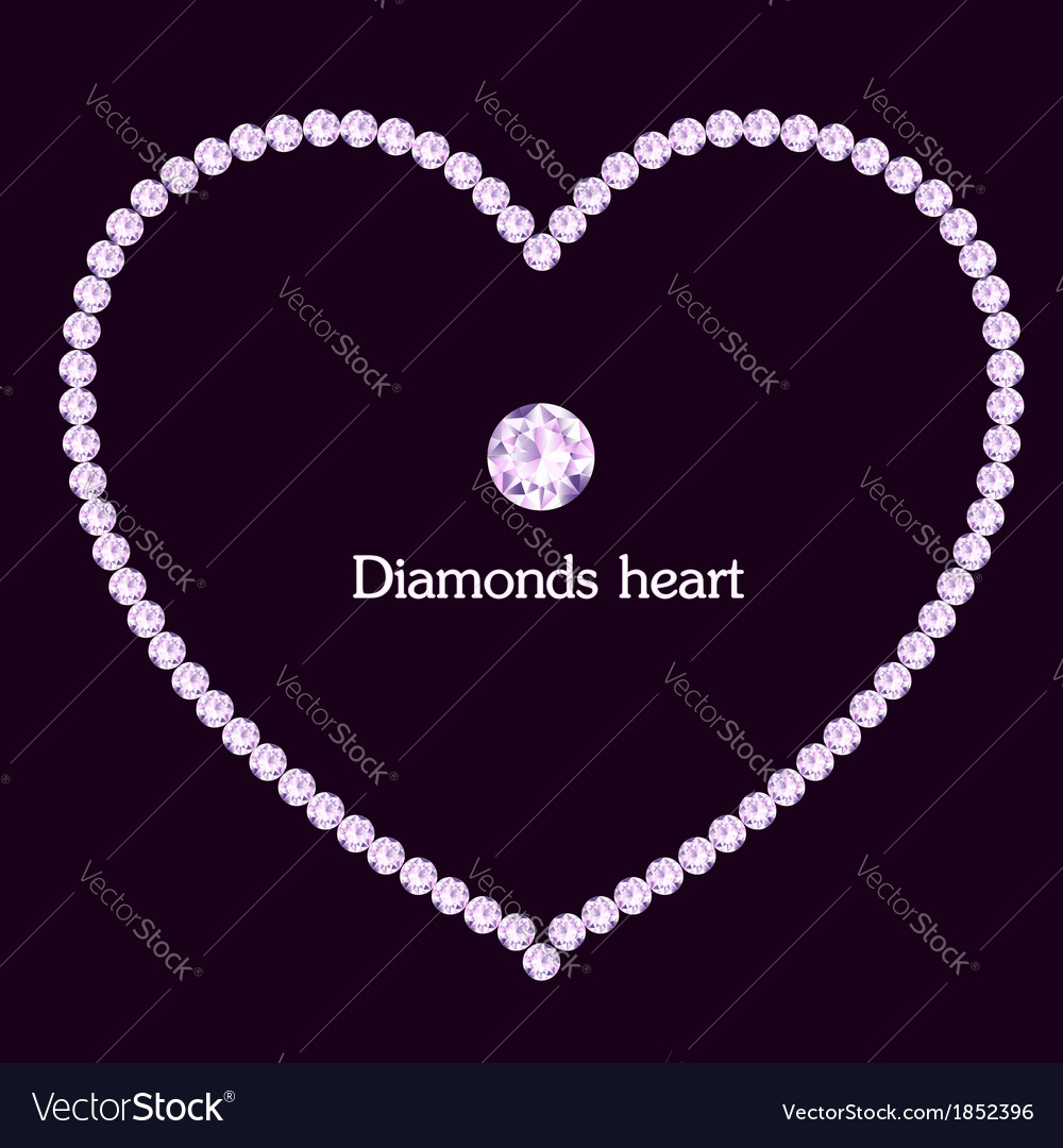 Heart frame made of diamonds vector
