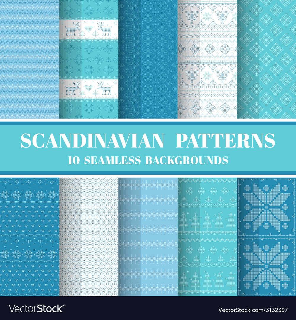 10 seamless patterns  scandinavian style vector
