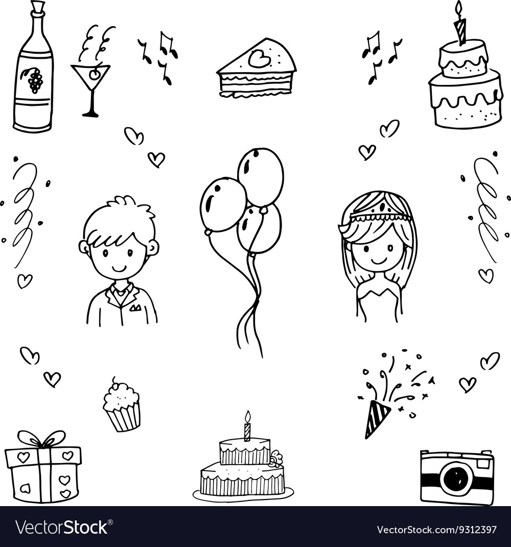 Doodle hand draw wedding party vector