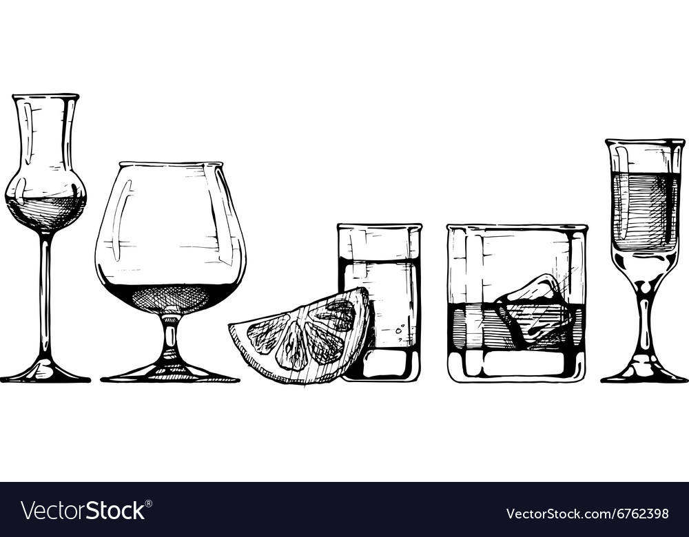 Glasses goblets set vector