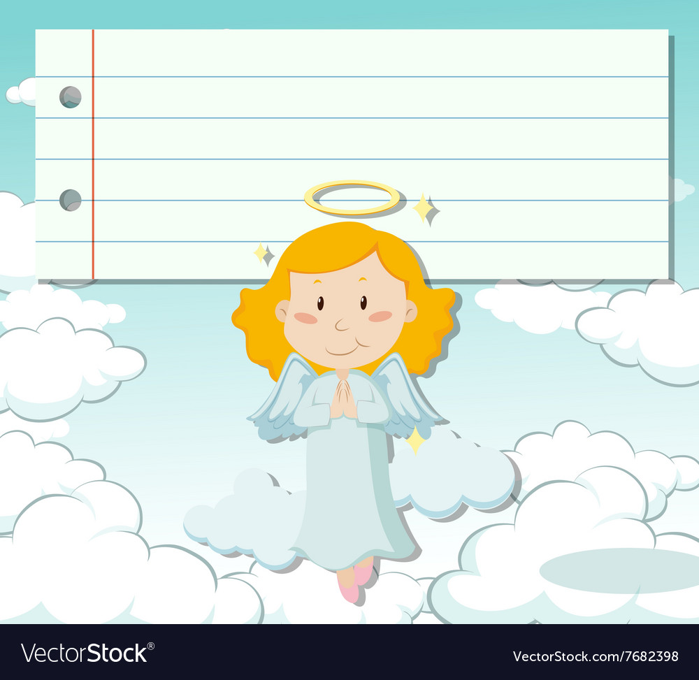 Line paper design with angel flying vector