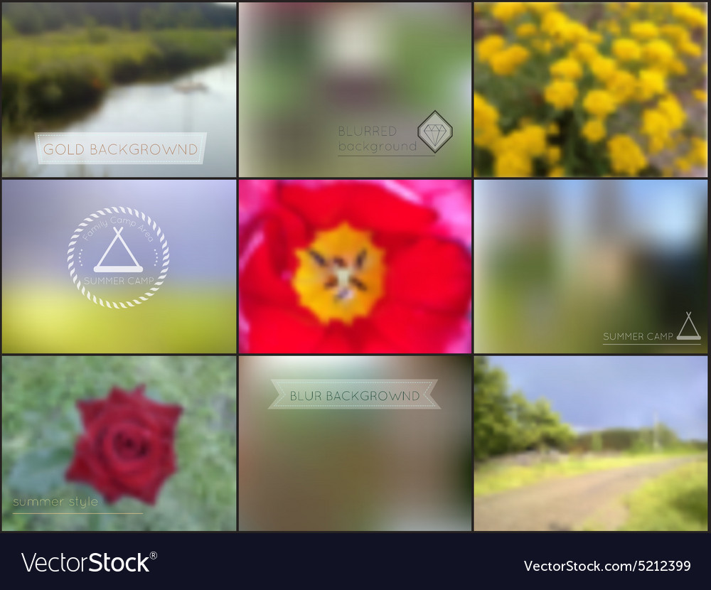 Set of summer camoing blur backgrounds vector