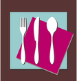 Fork knife spoon tablecloth vector image