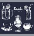 soft drinks and glasses for barrestaurantcafe vector image