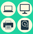 notebook icons set collection of desktop vector image