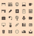 workspace color icons on brown background vector image