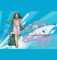 beautiful woman passenger bon voyage cruise ship vector image