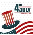 4th july independence day usa flag hat celebration vector image