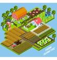 Farm complex isometric blocks composition vector image