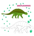 Educational game connect the dots to draw dinosaur vector image