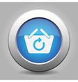 blue button - shopping basket refresh vector image