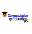 Congratulation graduation on white background vector image
