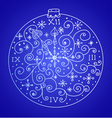 blue christmas card with clock vector image