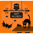 Cat arch back Kitty on roof Flying bats owl spider vector image