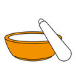 color silhouette with bowl and spatula for beauty vector image
