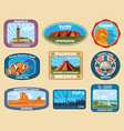 famous monuments and national landmarks retro vector image