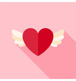 Flat Design Love Heart with Wings Icon vector image