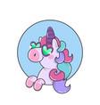 magical unicorn in glassest hin flat line art vector image