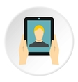 Man taking selfie using tablet icon flat style vector image