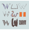 set of colorful alphabet letters W vector image