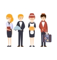 Hotel Staff Waiter Bellhop Administrator And vector image