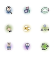Data cloud icons set pop-art style vector image