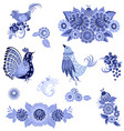 monochrome collection of fancy decorative birds vector image vector image