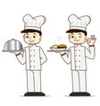cartoon cook chef character holding food vector image