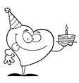 Cartoon heart with cake vector image