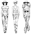 set fashion top models in trouser suits vector image