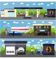 Gas station car wash and repair shop concept vector image