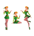 Pinup girl in Christmas elf costume in vector image