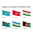 set of flags of central asia on sticks vector image