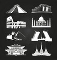 white silhouettes famous landmarks vector image