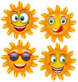 set smiling sun cartoon characters vector image vector image
