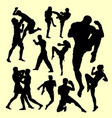 muay thai duel boxing sport silhouette vector image